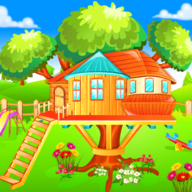 Girl Tree House Playing with Pet APK